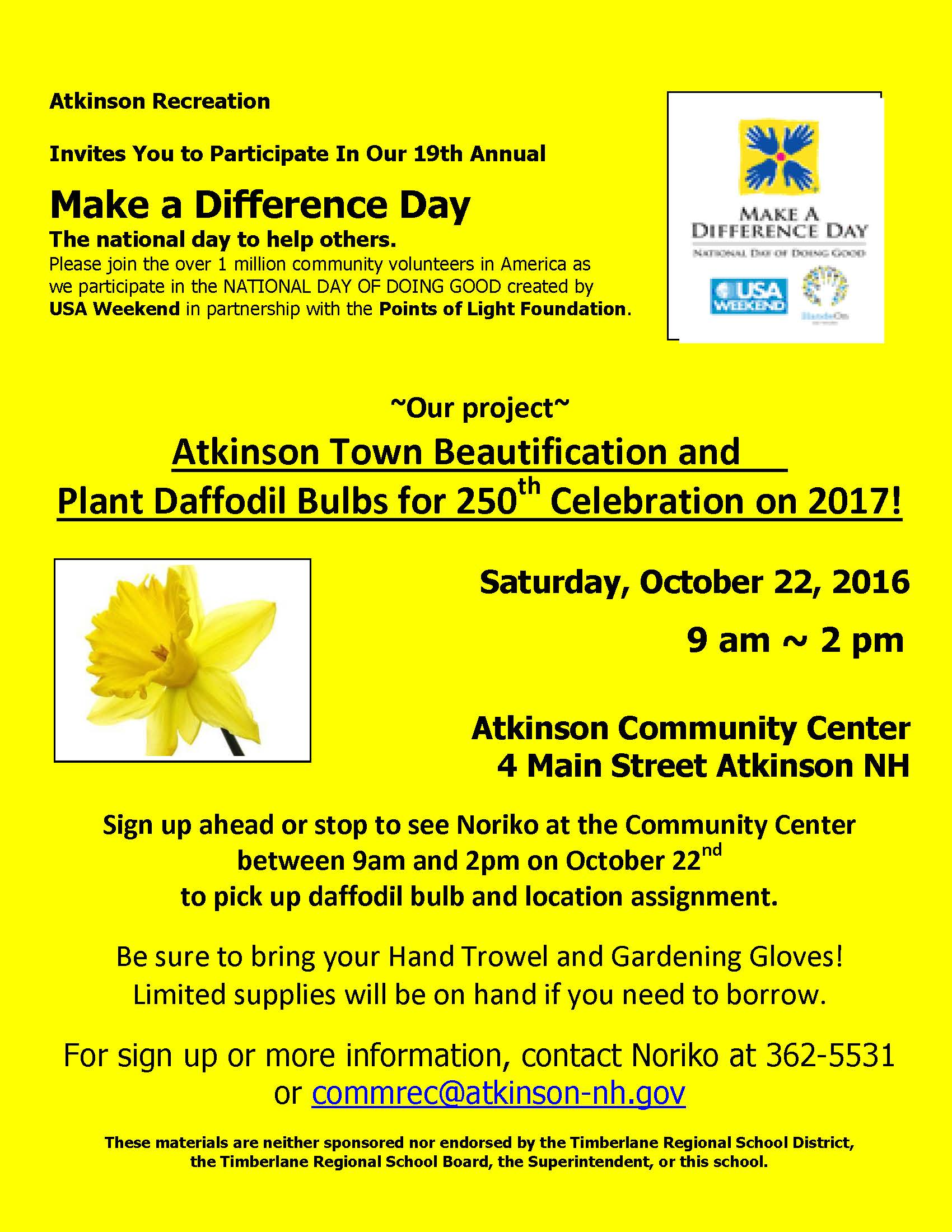 Make a Difference Day 10/22 9 - 2